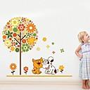Createforlife Cartoon Floral Tree Happy Dog and Cat Friends Kids Nursery Room Wall Sticker Wall Art Decals