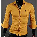 camisa de manga larga bordado cuello de la camisa de los hombres hengyi