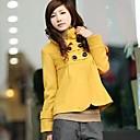 Womens Tweed Slim Stand Collar Trench Coat