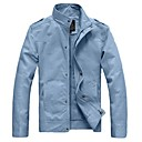 Mens Stand Collar Fashion Leisure Popular Long Sleeve Solid Color Jacket