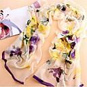 Womens Fashion Purple Flowers Printed Soft And Light Vintage Chiffon Silk Scarf
