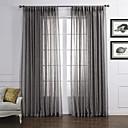 (Two Panels) Neoclassical Elegant Dark Grey Solid  Eco-friendly Sheer Curtain
