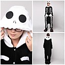 White Skeleton Adult Coral Fleece Kigurumi Pajamas Animal Sleepwear
