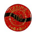 100 de bloqueo de oro redondeado chip de mahjong con el signo de la anti-falsificación
