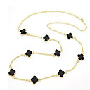 MIKI Four Leaf Clover Long Necklace