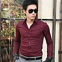 camisa de manga de Hengyi hombres cuello de la camisa del color sólido de largo