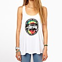 QUEEN™Womens Vest  Print Cotton Loose Beach Casual Top T-shirts