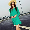 Women's Round Chiffon Mini Dress with Belt