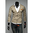Kuxing Mens Casual Long Sleeve Soft Solid Color Cardigan with Pocket (Khaki)