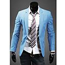 Hansun Mens Tailor Collar Solid Color Cotton Suit Blazer