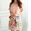KissTiesWomens Belt Sweet Flower Print Chiffon Short Sleeve Dress