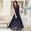 Womens Upscale Temperament Slim Sleeveless Chiffon Long Dress