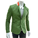 Hansun Men's Lapel Neck Contrast Color Sheath Suit Blazer