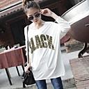 Womens Leopard Alphabet  Big Yards Loose Long-sleeved  T-Shirt