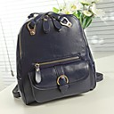 Vintage-Inspired Pocket Decoration Pu Leather Backpack