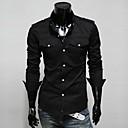 bolsillo doble adelgazan lesen hombres de color sólido ocasional camisa de manga larga o