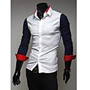 Camisa Casual costuras de color de manga larga Kuxing Hombres (DarkBlue)