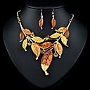forma collar de la aleación del rhinestone de la hoja Naizhu y pendientes