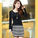 MEROKETTYWomens Round Collar Fashion Stripe Long Sleeve Dress