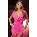 Sweet Womens Low-Cut Pleat Bodycon Dress