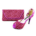 Womens Shoes Peep Toe Stiletto Heel Pumps Shoes Matching Clutches Bag More Colors available