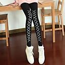 Womens Fashion Black Shoelace Print Skinny Legging Pants