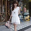 Womens Pleated Short-Sleeved Dress Was thin Dress
