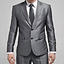 Mens Slim Small Suit Silver Two Buckle Korean Dress Suit (Blazer With Pants)