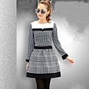 Women s Korean Grid Splicing Dress