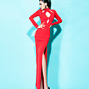 BLK Cut Out Halter Long Sleeve Slim Dress Slit Dress