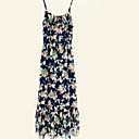 Zian Womens Condole Belt Bohemia Style Floral Print Chiffon Sleeveless Long Dress