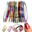 30pcs colores mezclados rollos línea cinta de las rayas del clavo decoración del arte etiqueta
