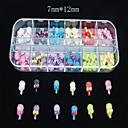 60PCS 12 Colours Sweet Lollipop Resin Set Nail Art Decoration