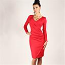 Sexy V Neck Solid Color Bodycon Dress