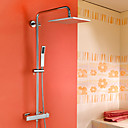 HPB™  Contemporary Chrome Brass Thermostatic Shower Faucet with Air Injection Technology Shower Head