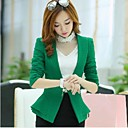Women s   Casual  Tailor Collar Solid Color Fitted  Long Sleeve  Coat