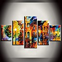 Oil Painting Bright Street Lights Landscape Paintings with Stretched Frame Set of 5 Hand-Painted Canvas