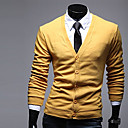 Kuxing Mens Casual Long Sleeve Soft Solid Color Cardigan (Yellow)