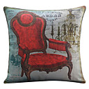 Retro Red Chair Cotton/Linen Decorative Pillow Cover