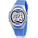 Childrens LCD Round Dial Rubber Band Quartz Analog Sport Watch (Random Style)