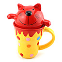 "300ml de cerámica innovadora Modelo del gato rojo de la historieta de la Copa, 4.3 ""x3.8"" x7.1 """