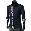 Hansun Men's Check Pattern Splicing Shirt