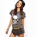 Womens Round Skull Flag Letter Print Rivet Short Sleeve T-shirt