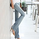 bolsillo trasero molino bordado blanco de vaquero micro llamaradas pantalones de las mujeres