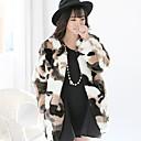 yifulu manga larga delgada de la moda temperamento elegancia de cuello redondo de impresión abrigos de pieles