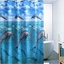 agua delfín impreso poliéster repelente de cortina de ducha