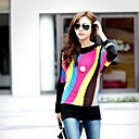 Womens Color Stripe Batwing Sleeve Blouse