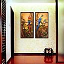 abstracto pinturas al óleo del loro impresión lienzo enmarcado conjunto de 2