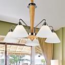 Eiche Pendelleuchte, fünf Lampen, Eiche und Glas, 220 ~ 240V (hy6015)