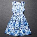 blues de cuello redondo vestido sin mangas de la impresión floral de las mujeres